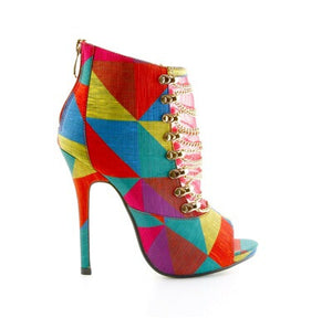 Kina Tri-Color Strappy Chain Open Toe Bootie - Obsessive Shoe Addict