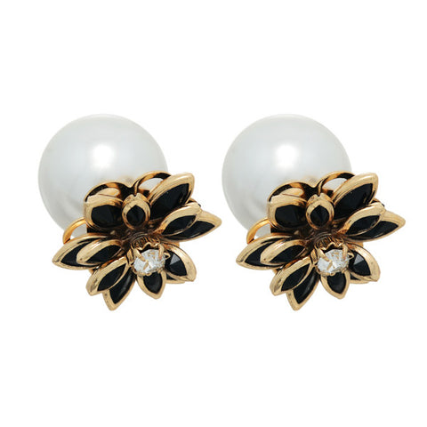 Black & Gold Double Sided Pearl Earrings