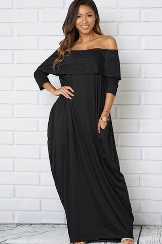 Black Off Shoulder Maxi Dress - Obsessive Shoe Addict