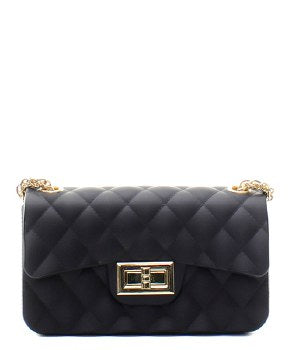 Black Quilted Patent Messenger Bag - Obsessive Shoe Addict