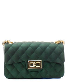 Green Quilted Patent Messenger Bag - Obsessive Shoe Addict