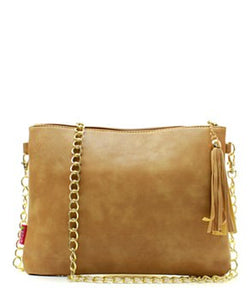 Khaki Chain Fashion Clutch - Obsessive Shoe Addict