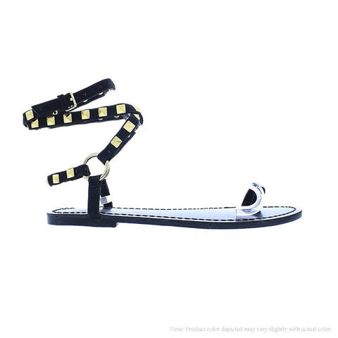Black Studded Sandal - Obsessive Shoe Addict