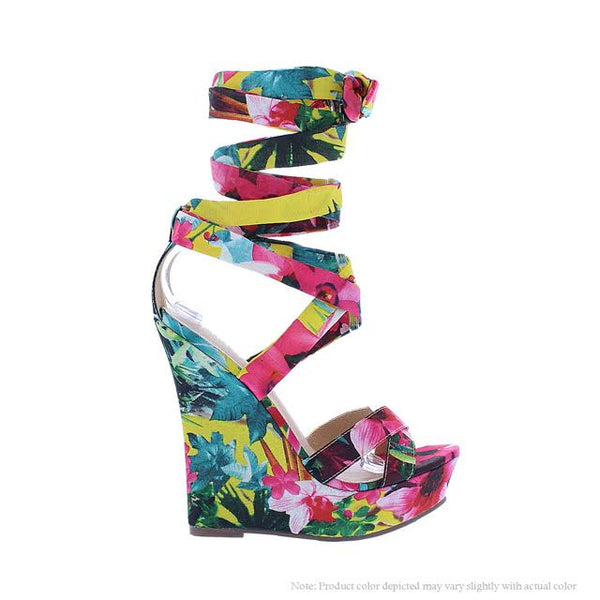 Floral Lace Wedge - Obsessive Shoe Addict