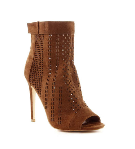 Camel Open Toe Ankle Boots - Obsessive Shoe Addict
