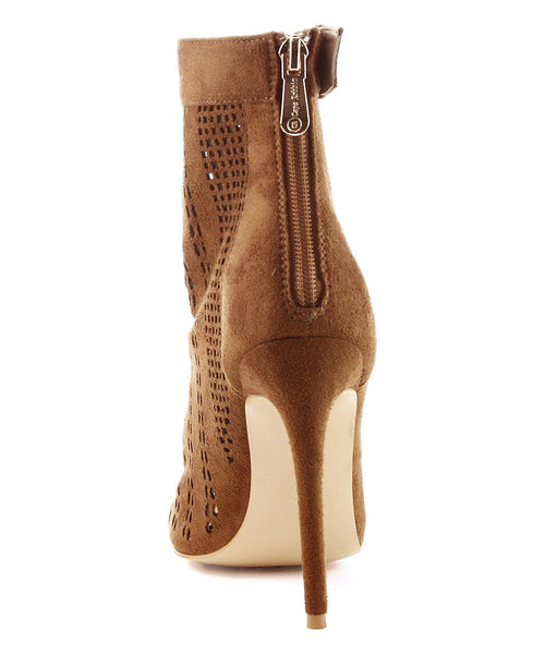 Camel Open Toe Ankle Boots