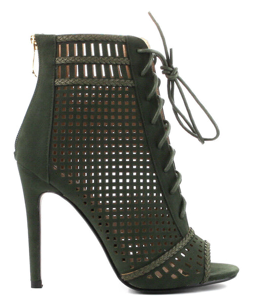 Olive Lace Up Open Toe Ankle Bootie