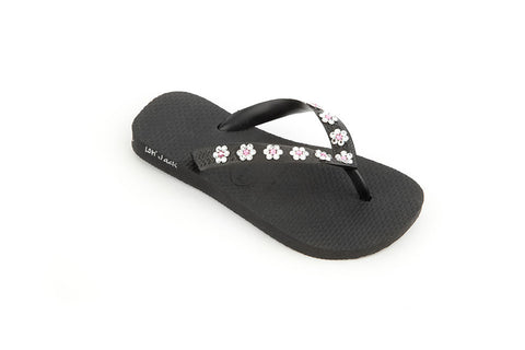 Black & Flowers Flat Kids
