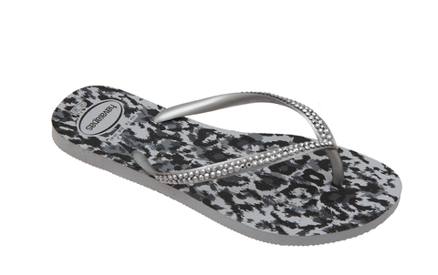 Animal Ice Gray Print & Lt Metallic Silver Slim