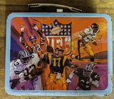 Vintage Metal Lunch Box  NFL Various Players Red Blue