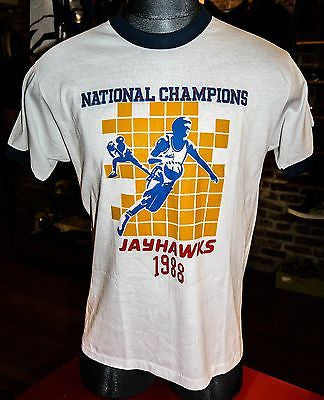 VTG  Kansas Jayhawks 1988 National Champions NCAA Collage basketball Tee SZ XL