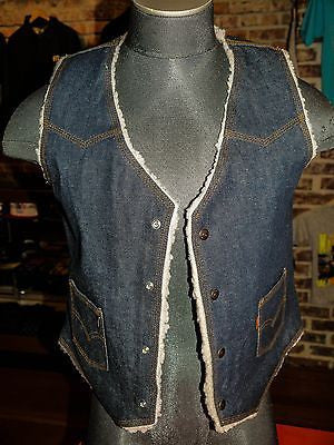 VTG Levi's Sheep Skin Denim Vest SZ M Deadstock