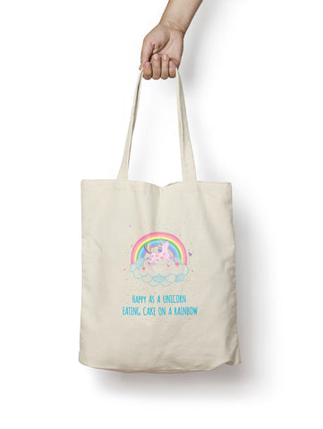 Happy Unicorn Cotton Tote Bag - Promofix Gifts