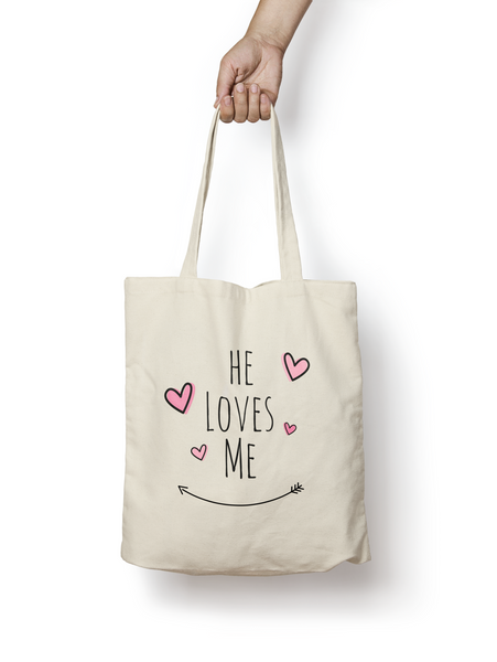 He Loves Me Cotton Tote Bag - Promofix Gifts
