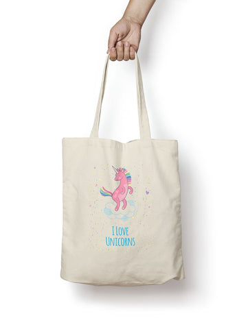 I Love Unicorns Cotton Tote Bag - Promofix Gifts