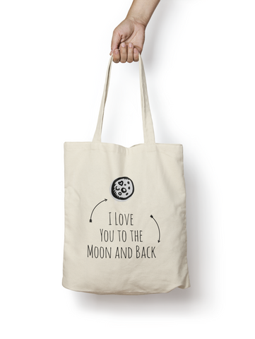 I Love You To The Moon and Back Natural Cotton Tote Bag - Promofix Gifts