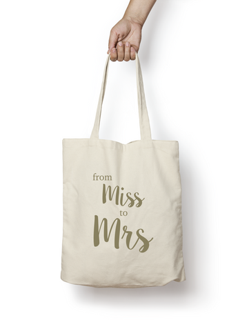 Miss to Mrs Cotton Tote Bag GOLD - Promofix Gifts