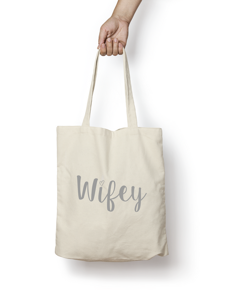 Wifey Cotton Tote Bag SILVER - Promofix Gifts