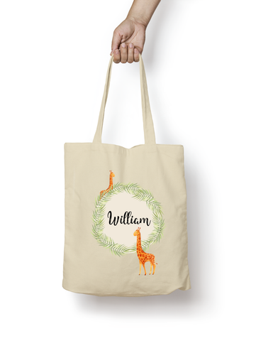 Giraffe Cotton Tote Bag Personalised