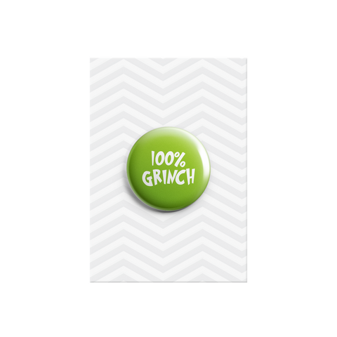 100% Grinch Button Badge 38mm - Promofix Gifts   - 1