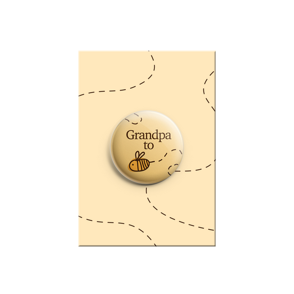 Grandpa to be - Bumble Bee Button Badge 38mm - Promofix Gifts   - 1