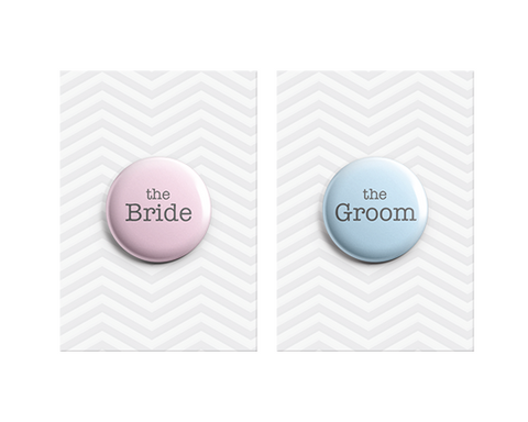 The Bride & The Groom Button Pin Badges 38mm - Promofix Gifts   - 1