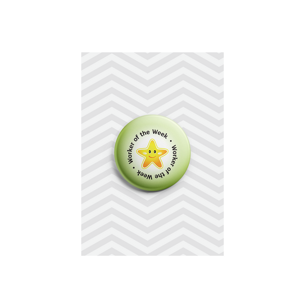 Worker of the Week School Reward Button Badge 38mm - Promofix Gifts   - 1