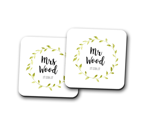 Mr and Mrs Personalised Coaster