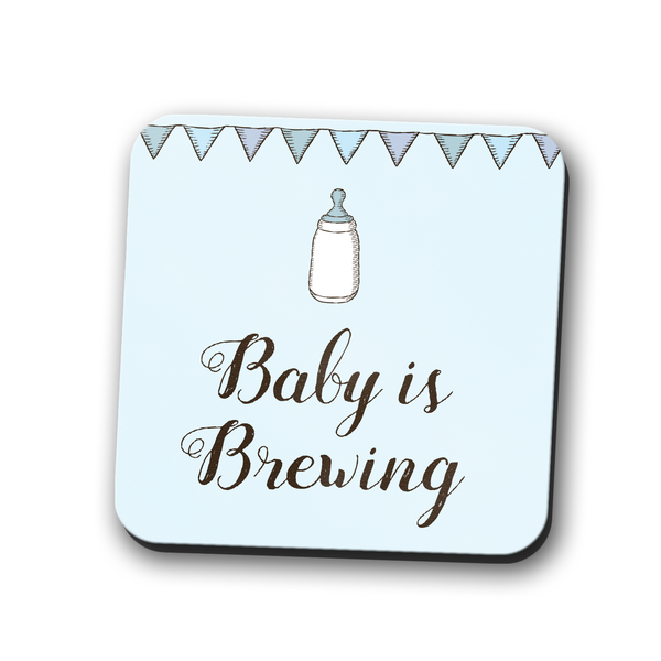 Baby is Brewing Coaster Blue