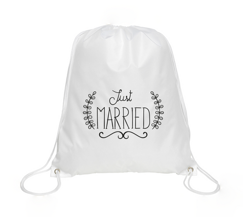 Just Married Drawstring Bag