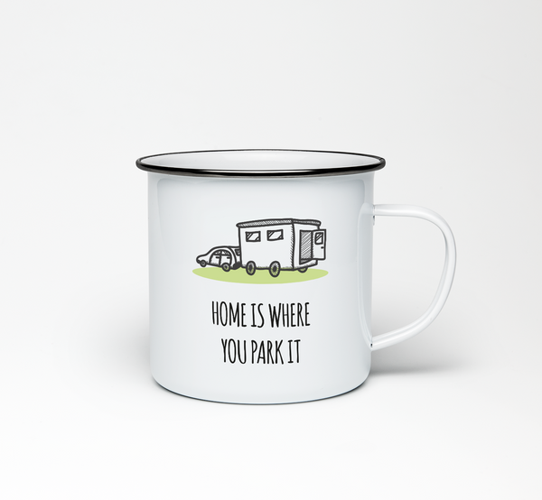 Home is Where You Park it Enamel Mug - Promofix Gifts