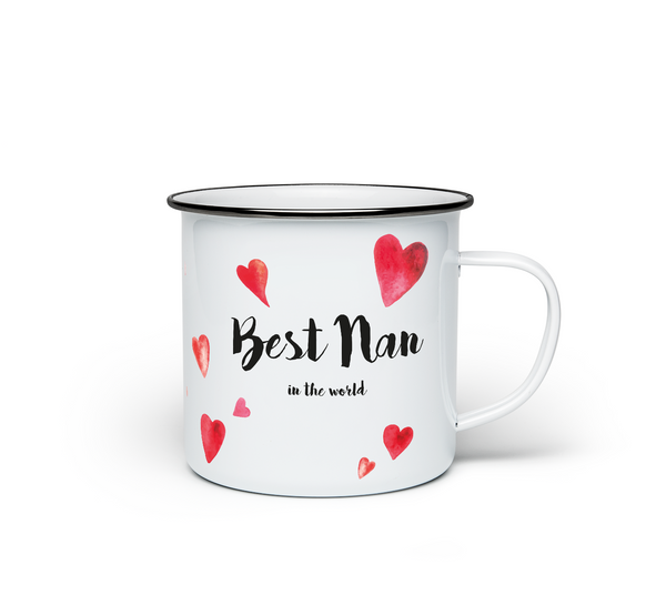 Best Nan in the World Enamel Mug - Promofix Gifts