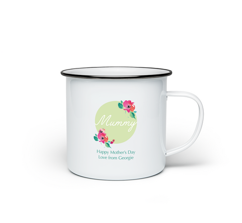 Personalised Happy Mothers Day Enamel Mug