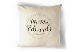 Mr and Mrs Wedding Dater Personalised Cushion