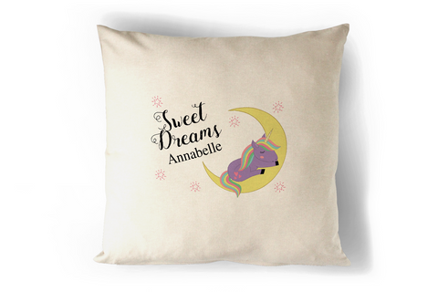 Sweet Dreams Personalised Unicorn Cushion