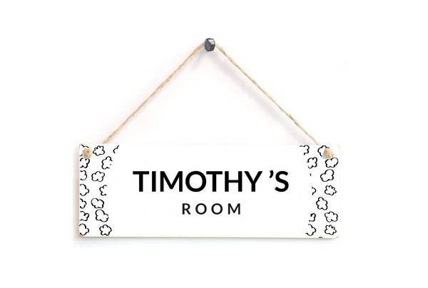 Black and White Personalised Clouds Door Plaque