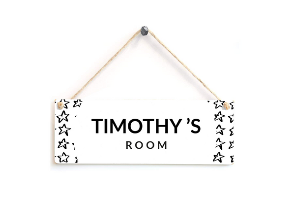 Black and White Personalised Stars Door Plaque