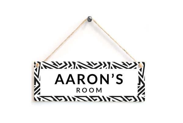 Black and White Personalised Zig Zag Door Plaque
