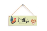 Chicken Personalised Door Plaque Green
