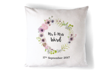 Mr & Mrs Floral Personalised Silk Pillow