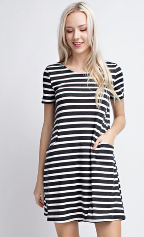 Ponti Stripe Dress