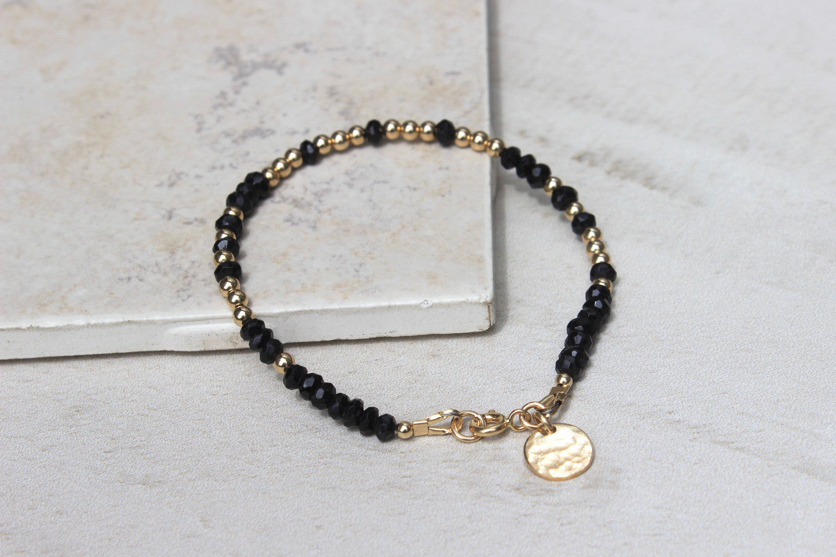 Black Spinel Morse Code Bracelet - Designed By Lei