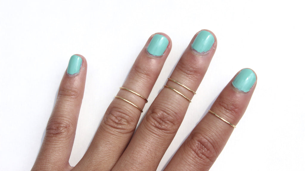 Simple Band Knuckle Rings - Set of 5 - Designed By Lei