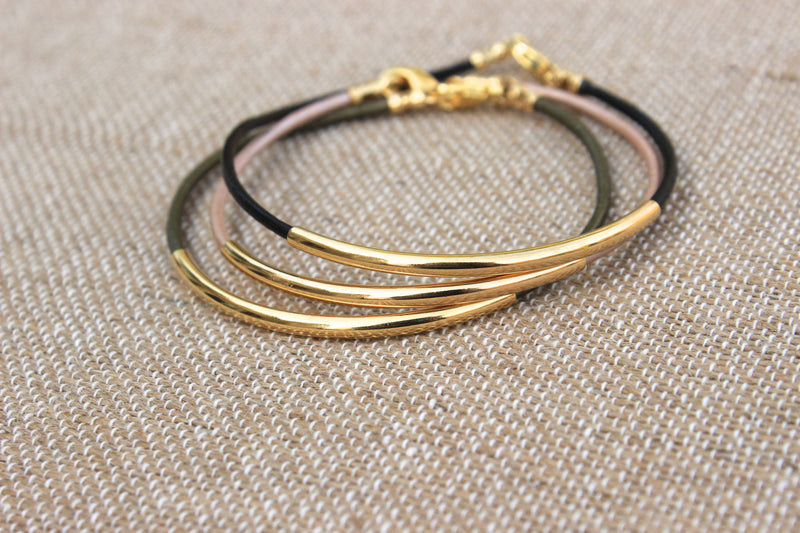 Gold Tube Bracelet - Designed By Lei
