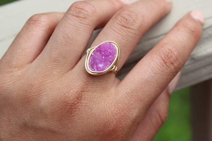 Pink Druzy Statement Ring - Designed By Lei