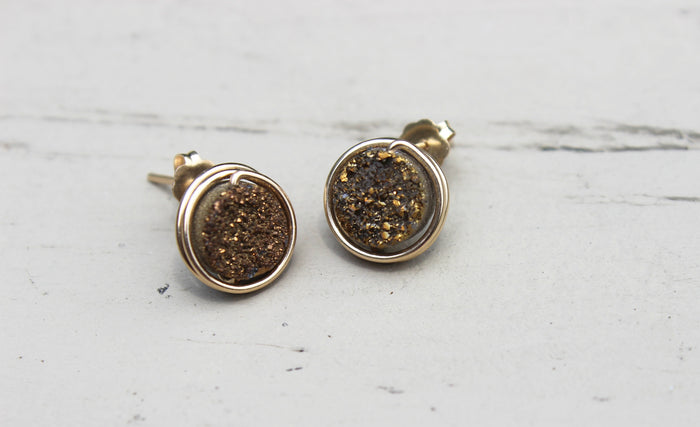 Gold Druzy Earrings - Designed By Lei