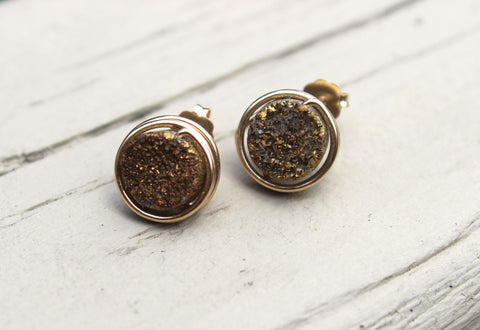 Gold Druzy Earrings