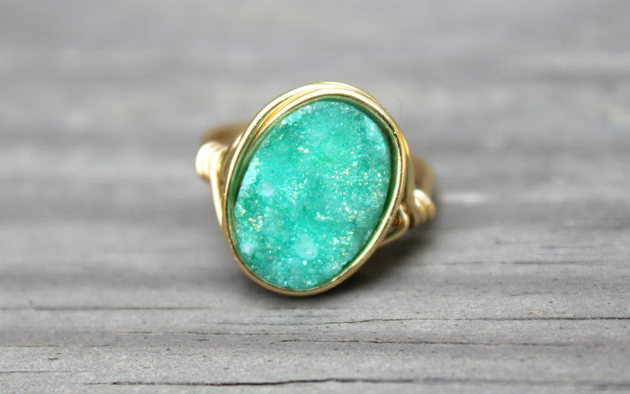 Turquoise Druzy Statement Ring - Designed By Lei