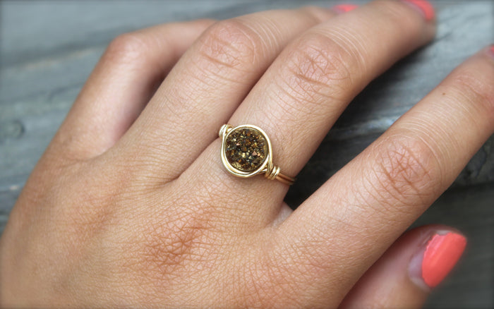 Gold Druzy Ring - Designed By Lei