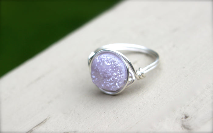 Purple Druzy Ring - Designed By Lei